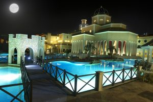 Melia Villaitana Golf Resort Pool by night